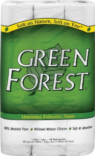 Green Forest Premium Bathroom Tissue - Unscented 2 Ply - Case of 8 - 12 rolls