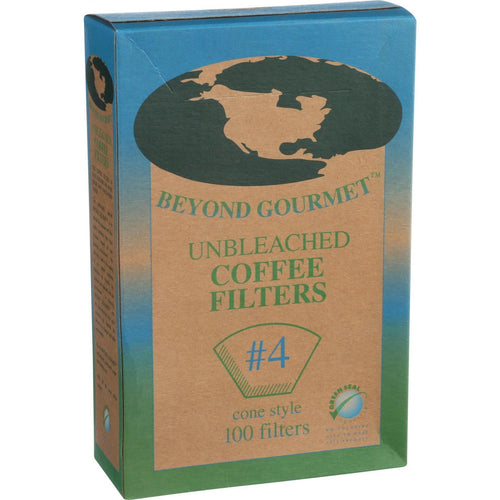 Beyond Gourmet Coffee Filters - Cone - Unbleached - Number 4 - 100 Count