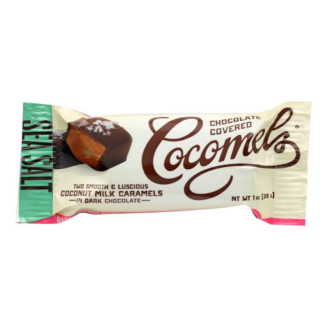 Cocomel Dark Chocolate Covered Cocomels - Sea Salt - Case of 15 - 1 oz.