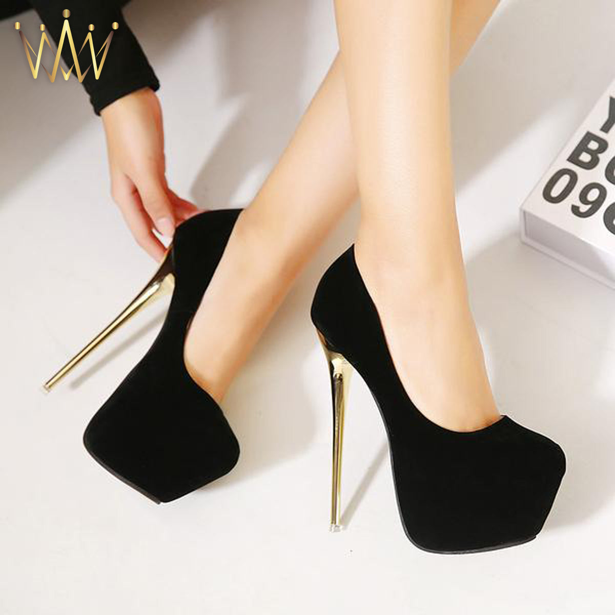 Faux Suede Platform Stiletto Pumps