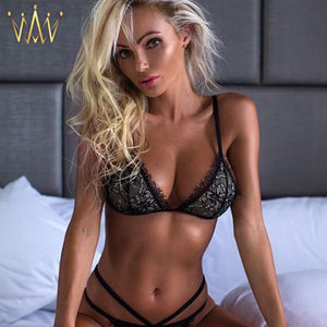 Lace Triangle Bralette and Bandage Style G-string Set
