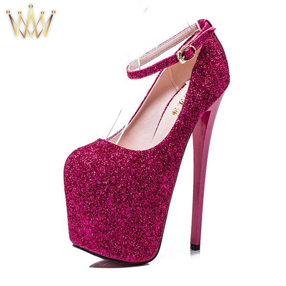 Platform Glitter Stiletto Pumps