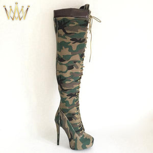 Camouflage Over Knee High Platform Stiletto Boots