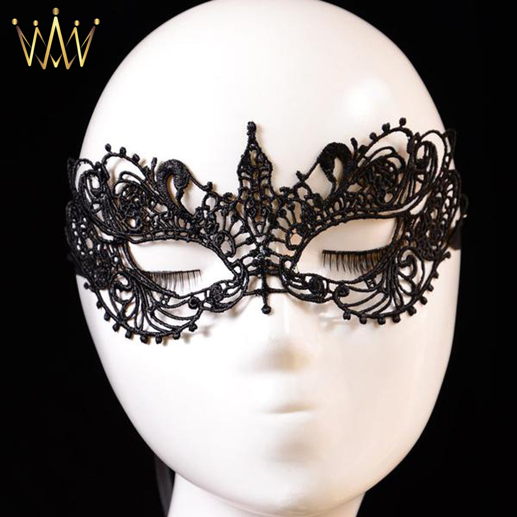 Black Floral Lace Eye Mask