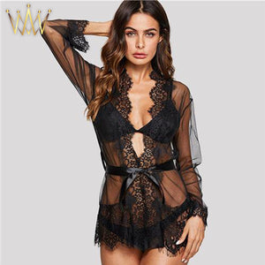 womens lingerie black sheer kimono robe eyelash trim lace scallop set