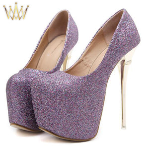 Glitter Sparkle Extreme High Heel Shoes