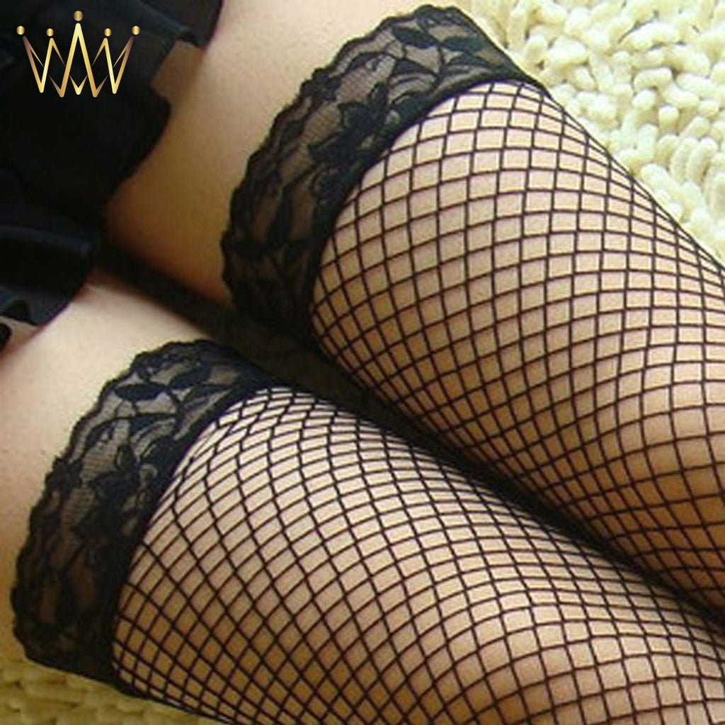 Sexy Lingerie Woman Ladies Lace Fishnet Thigh High Stockings Black