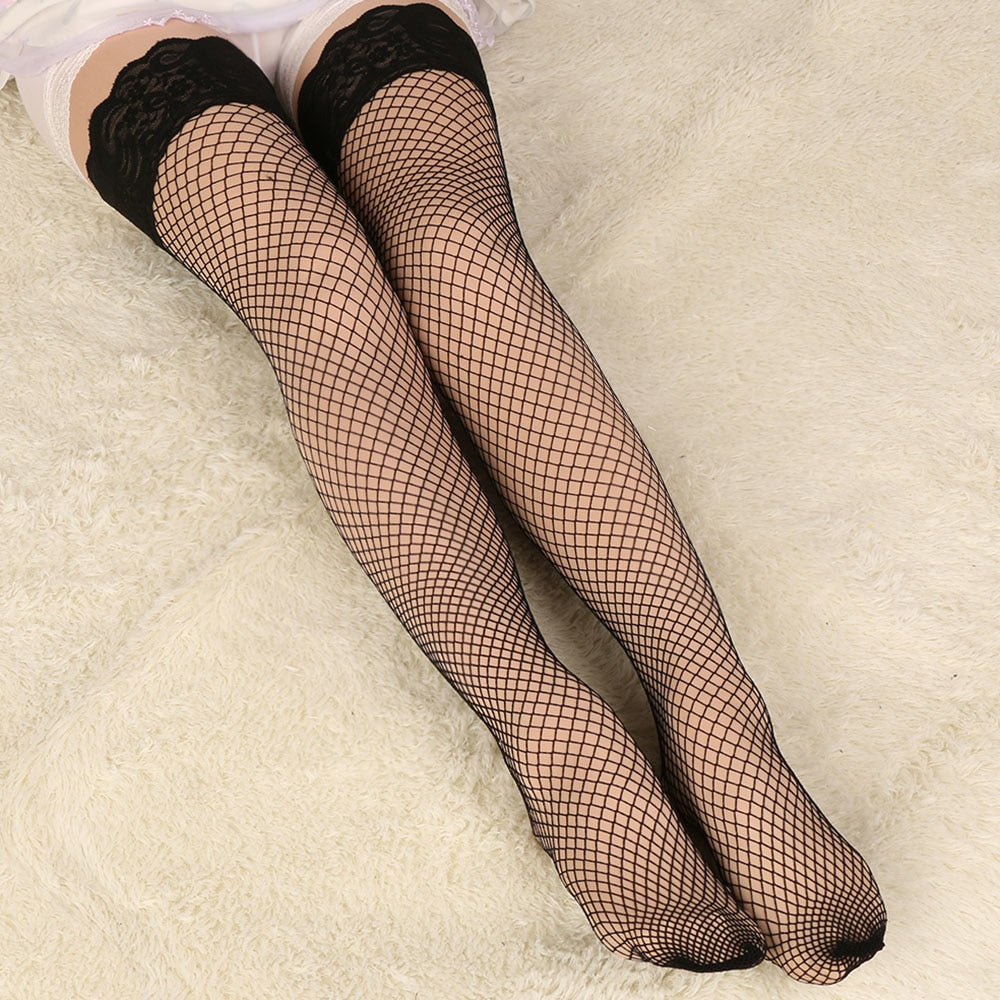 Mesh & Lace Thigh High Fishnet Stockings