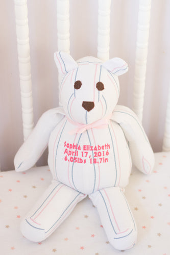 Birth Blanket Bear Keepsake, Stuffed Bear made from your items-Keepsake-Stitches by Natalie-Stitches by Natalie