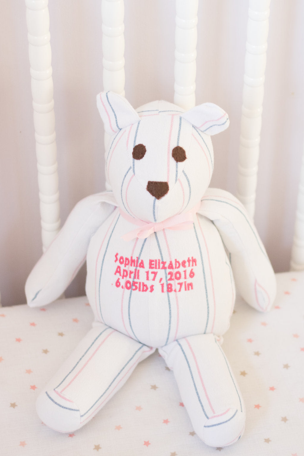 2a6bda87ea4 Keepsake Baby Gifts - Stuffed Bear - Baby Gift Items-Stitches by  Natalie-Stitches