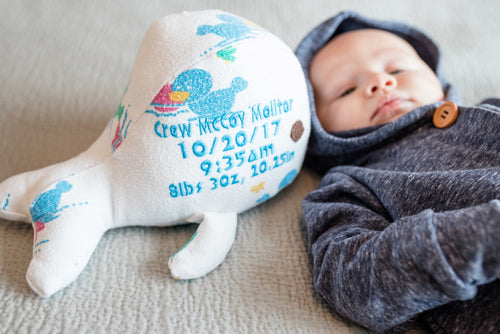 Birth Whale, Keepsake Whale-Stitches by Natalie-Stitches by Natalie