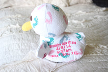Duck Birth Blanket Keepsake, Memory Duck, Baby Blanket Duck, New baby gift-Stitches by Natalie-Stitches by Natalie