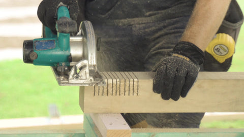measuring tape, miter saw, lumber, posts, deck, deck build, home improvement, home contractor, buildtuff