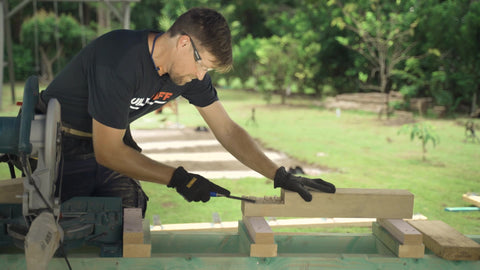 measuring tape, miter saw, lumber, posts, deck, deck build, home improvement, home contractor, buildtuff, chisel,