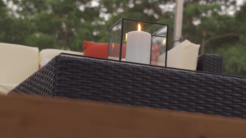 candle, outdoor sofa set, cushions, deck, patio