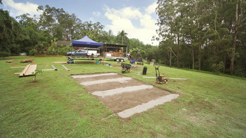 terraces, trenches, soil, tools, construction, turf, lumber, deck, deck build