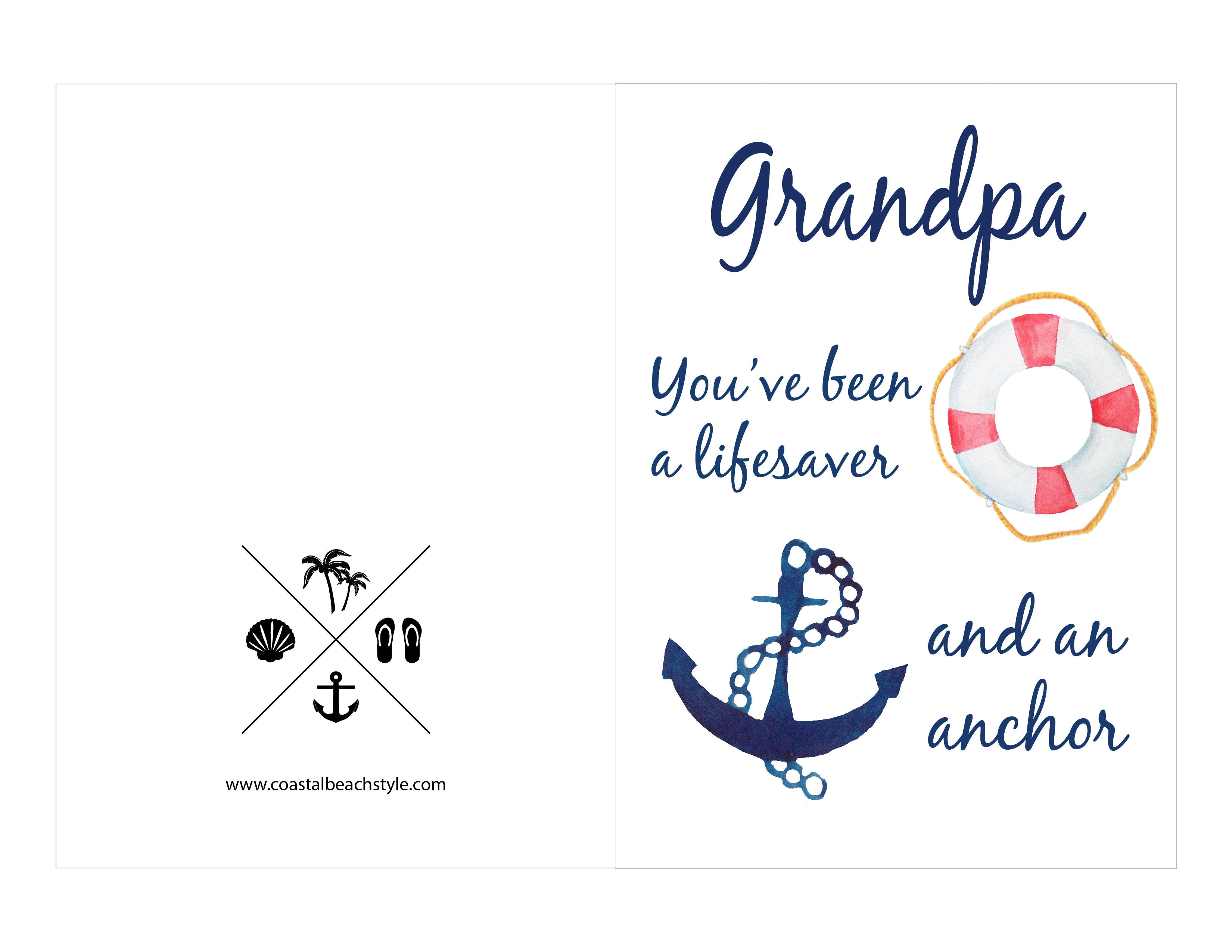 picture about Father's Day Card Printable known as Absolutely free Printable Fathers Working day Playing cards Coastal Seashore Layout