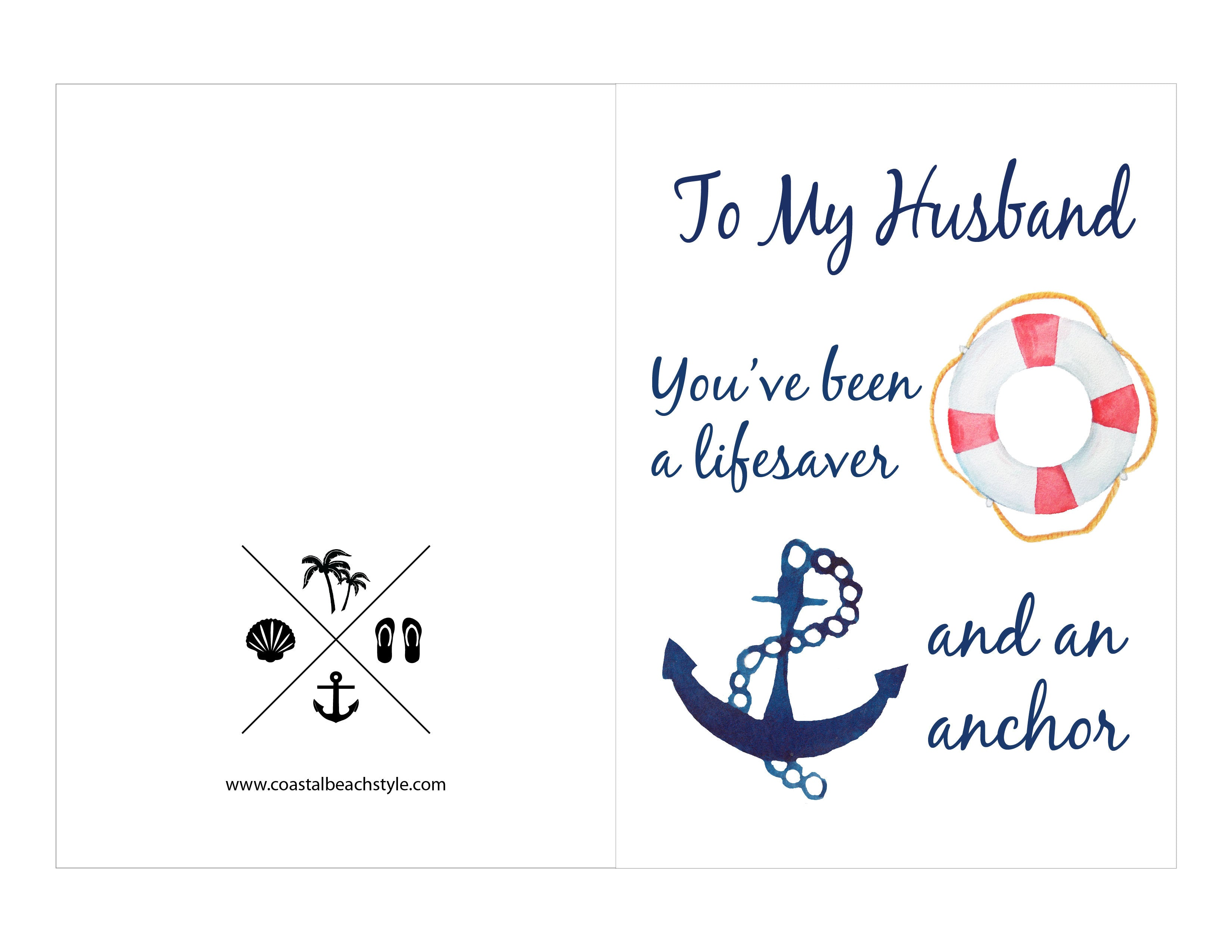 Free Printable Fathers Day Cards Coastal Beach Style