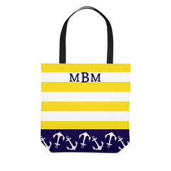 Yellow Stripe Anchor Monogram Tote Bag