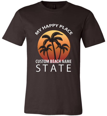 Custom Name Beach Happy Place T Shirt Personalized Gift For Beach Lover Brown