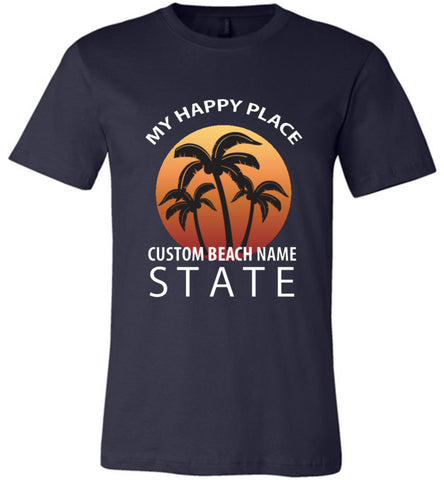 Custom Name Beach Happy Place T Shirt Personalized Gift For Beach Lover Navy Blue
