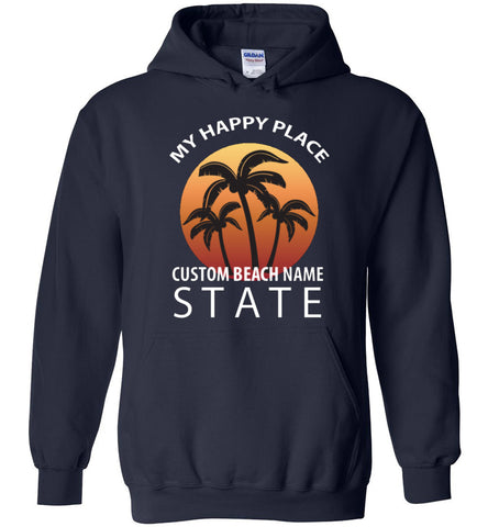 Custom Beach Happy Place Hoodie