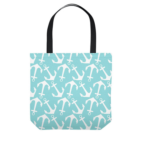 Nautical Teal Anchor Tote Bag