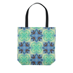 Batik Polynesian Bali Tropical Blue Green Tote Bag