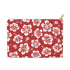 Image of Hawaiian Hibiscus Red Floral Accessory Pouch