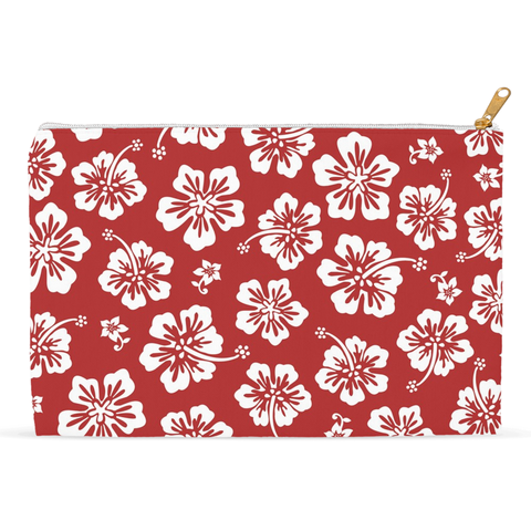 Hawaiian Hibiscus Red Floral Accessory Pouch