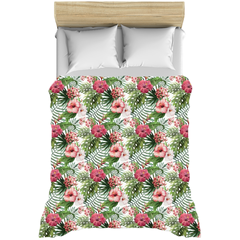 Hibiscus Flowers Tropical Leaves Duvet Covers