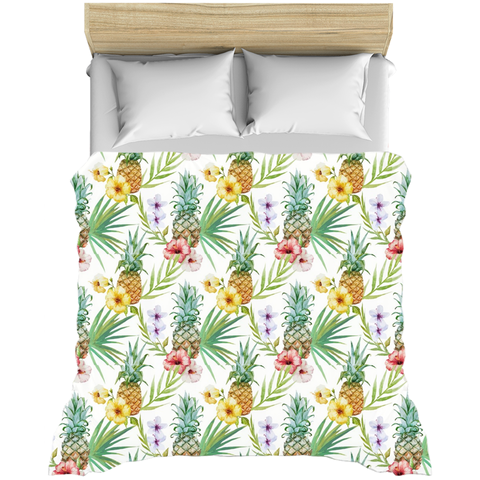 Pineapples Tropical Flowers Duvet Covers