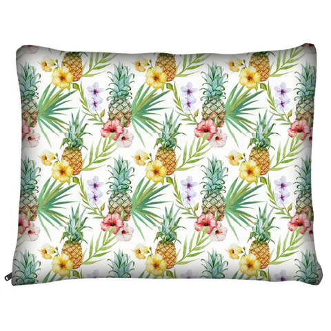 Tropical Floral and Pineapple Dog Bed