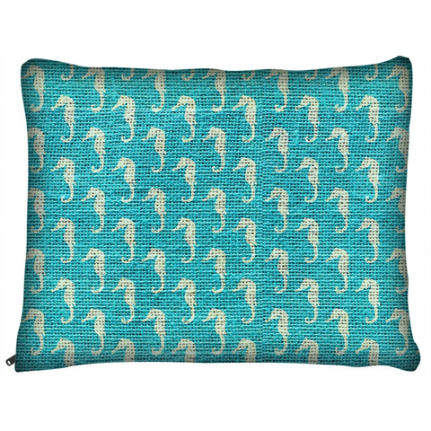 Seahorse Teal Dog Bed