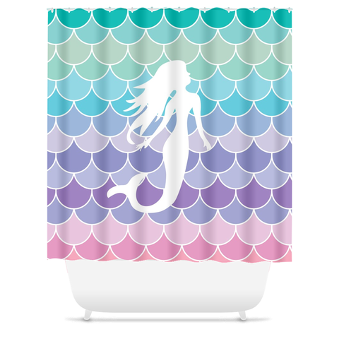 Mermaid Scales Beach Ocean Girl's Bathroom Shower Curtain