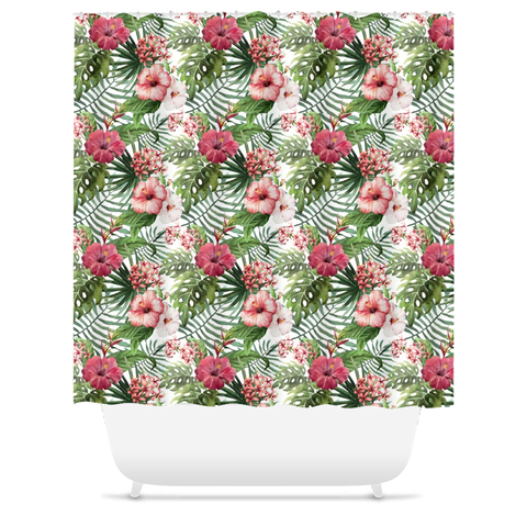 Hibiscus Flowers Tropical Beach House Shower Curtain