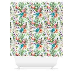 Tropical Flamingo Hibiscus Flower Shower Curtain