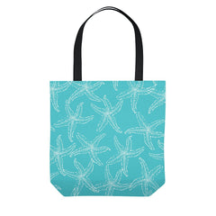 Teal Starfish Tote Bag