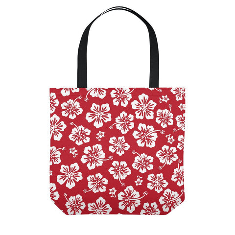 Red Hawaiian Floral Tote Bag