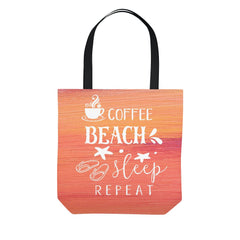 Watercolor Coffee Beach Sleep Repeat Orange Tote Bag