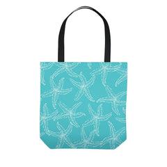 Teal Starfish Beach Tote Bag