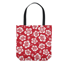 Red Hawaiian Hibiscus Pareo Tote Bag