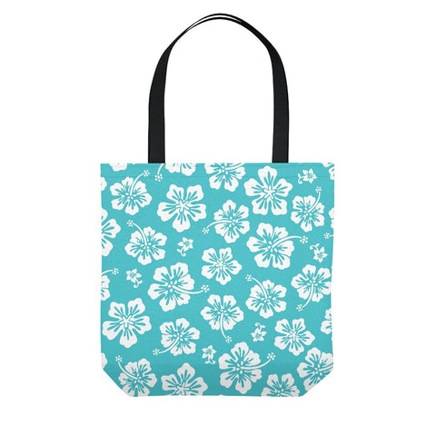 Teal Hawaiian Floral Tote Bag