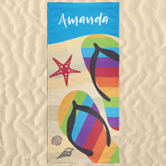 Flip Flops Personalized Beach Towel