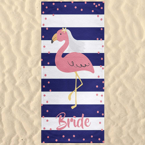 Beach Wedding Flamingo Bride Beach Towel Bachelorette Party Gift