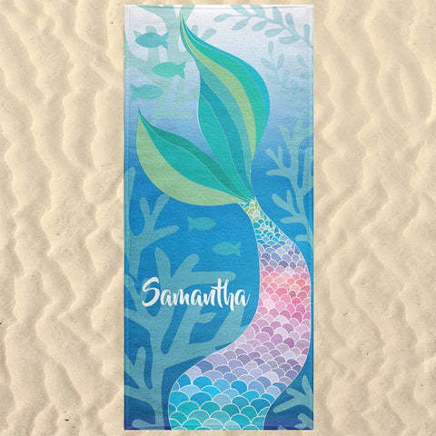 Mermaid Tail Pastel Rainbow Beach Towel Personalized Custom Bachelorette Party Weekend