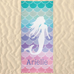 Mermaid Personalized Beach Towel Pastel Mermaid Scales