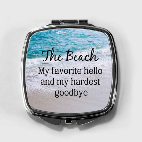 Beach Inspirational Quote Compact Mirror