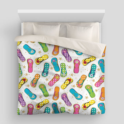 Beach Flip Flops Duvet Bed Cover