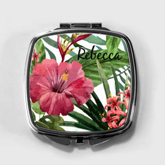 Hibiscus Flower Personalized Compact Mirror